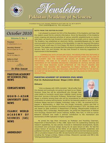 October 2010 - Pakistan Academy of Sciences