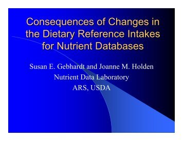 Consequences of Changes in the Dietary Reference Intakes for ...