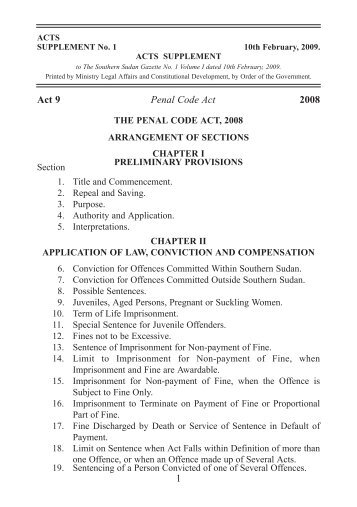 Act 9 Penal Code Act 2008 1 - Government of Southern Sudan