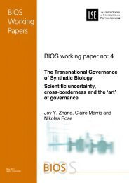 BIOS WP 4 Transnational Governance of ... - The Royal Society