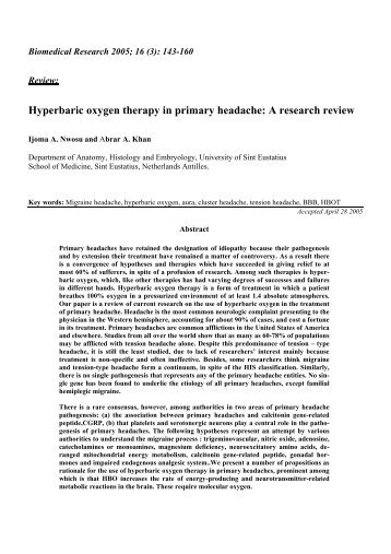 Hyperbaric oxygen therapy in primary headache: A research review