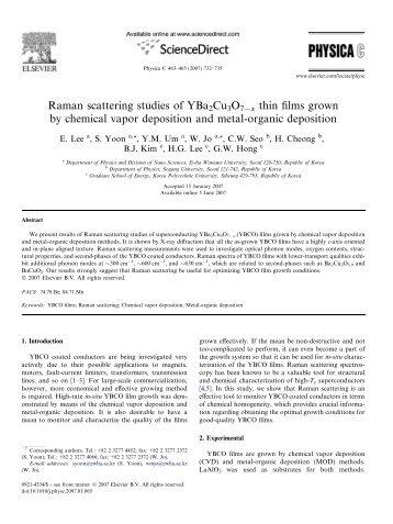 Raman scattering studies of YBa2Cu3O7Āx thin films grown by ...
