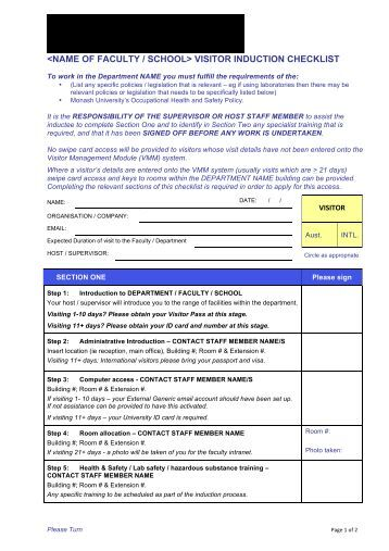 Jacksons security induction checklist employee name for Induction procedure template