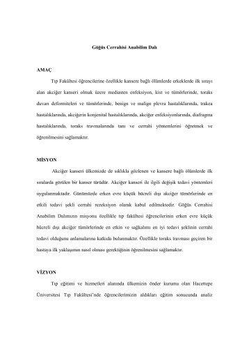Göğüs Cerahisi Ana Bilim Dalı - Hacettepe Üniversitesi Tıp Fakültesi