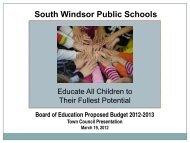 2012-2013 Board of Education Budget Proposal Presentation