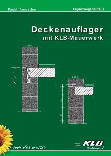 Deckenauflager mit KLB-Mauerwerk - OBW GmbH