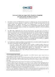 Avis sur le droit au respect de la vie privée et familiale et ... - CNCDH