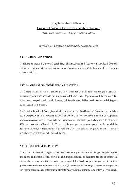 Calendario Didattico Unisi.Lingue E Letterature Straniere Unisi It Universita Degli