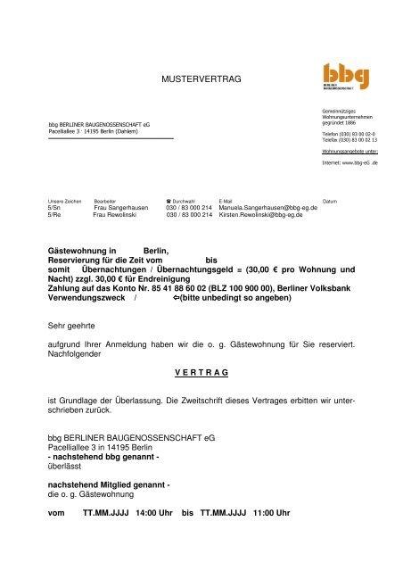 Mustervertrag Gästewohnung Berliner Baugenossenschaft Eg