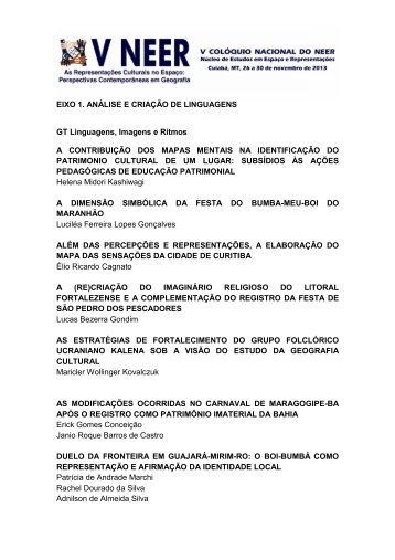 EIXO 1 trabalhos aprovados - Departamento de Geografia - UFMT