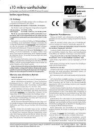 . s10 mikro-sanftschalter - Schulze Elektronik GmbH