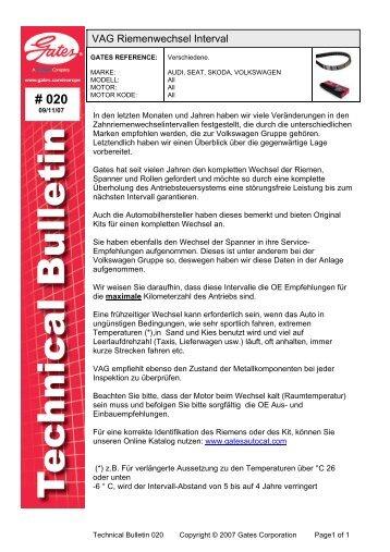 VAG Riemenwechsel Interval - Autoteile Pirna