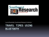 Travel times using Bluetooth - Western States Forum