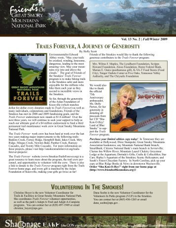 2009 ShaConage Newsletter - Friends of the Smokies