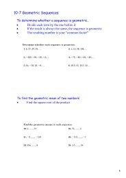 10-7 Geometric Sequences - The Pembroke Hill School
