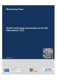 Health Technology Assessment on the Net International: 2013