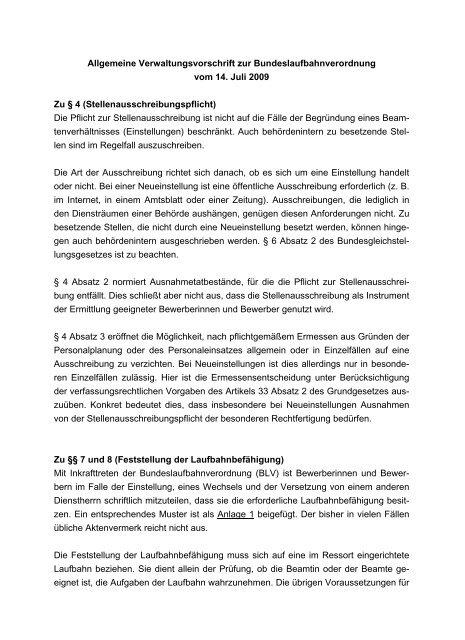 Allgemeine Verwaltungsvorschrift zur Bundeslaufbahnverordnung