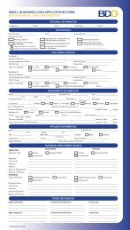 small business loan application form for individual / sole - BDO
