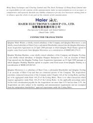connected transactions - Haier Electronics Group Co., Ltd.