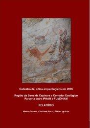 Cadastro de sítios arqueológicos em 2005 Região da Serra da ...