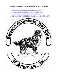 bmdca breed ambassador program - Bernese Mountain Dog Club of ...