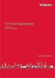 野村ホールディングス株式会社 CSRレポート2010 (PDF) - Nomura