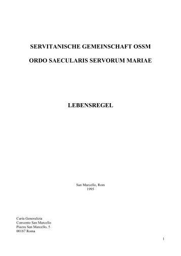 SERVITANISCHE GEMEINSCHAFT OSSM ORDO SAECULARIS ...