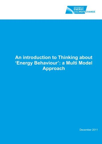 An introduction to Thinking about 'Energy Behaviour' - Gov.uk