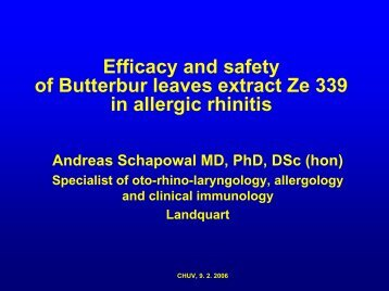 Efficacy and safety of Butterbur leaves extract Ze 339 in ... - CHUV