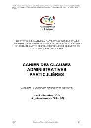 cahier des clauses administratives particulières - Chambre des ...