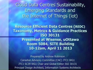 WiSense Seminar #96, Cloud Data Centres Sustainability, Emerging ...
