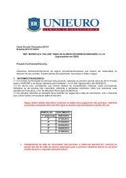 carta financeira veteranos 2013 ingressantes em 2009 - Unieuro