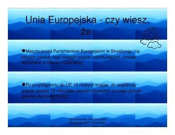 Unia Europejska - ciekawostki - Interklasa