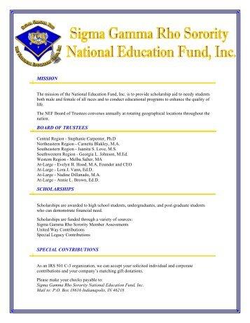 National Education Fund - Sigma Gamma Rho Sorority, Inc.