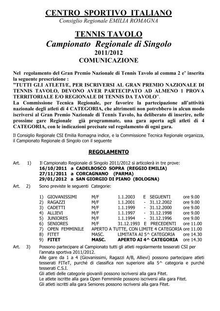Campionato Regionale di Singolo - CSI Parma 4f8b7833d477a