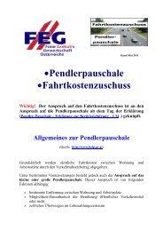 •Pendlerpauschale •Fahrtkostenzuschuss