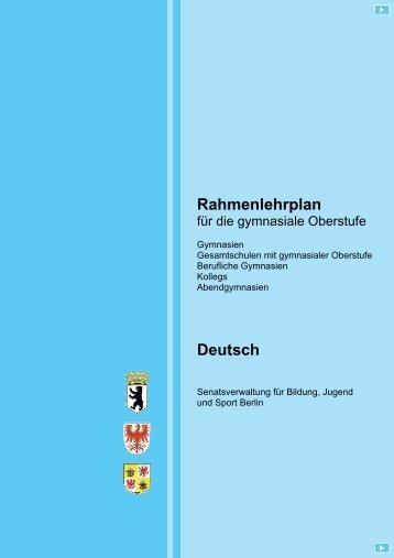 Rahmenlehrplan - Deutsch - Fachbereich Philosophie und ...
