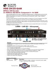Blonder Tongue HDE-2H-2S-QAM MPEG2 HD ... - Multicom, Inc
