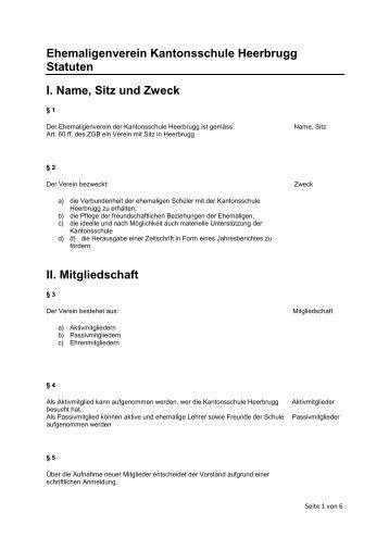 Ehemaligenverein Kantonsschule Heerbrugg Statuten I. Name, Sitz ...