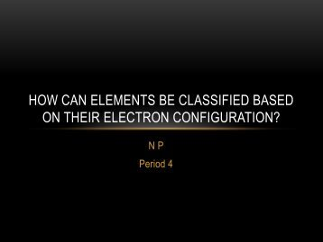 How can elements be classified based on their electron configuration?