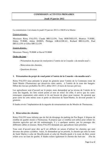 Télécharger le compte-rendu du 19 janvier 2012 - La Couarde
