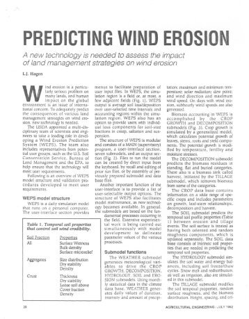 Predicting Wind Erosion - USDA-ARS Wind Erosion Research Unit