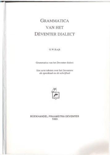 Grammatica van het Dèventer dialect - De Taal van Overijssel