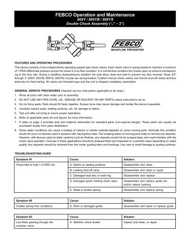 FEBCO Operation and Maintenance - Backflow Supply