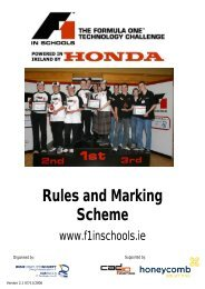 Rules and Marking Scheme - F1 in Schools