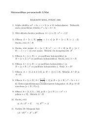 Matematiikan perusmetodit I/Mat HARJOITUKSIA, SYKSY 2005 1 ...