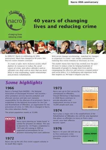 40 years of changing lives and reducing crime Some ... - Nacro