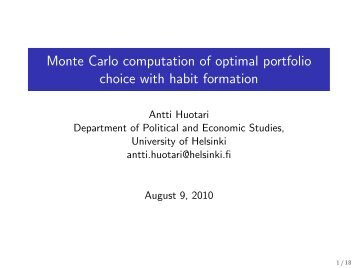 Monte Carlo computation of optimal portfolio choice with ... - Helsinki.fi