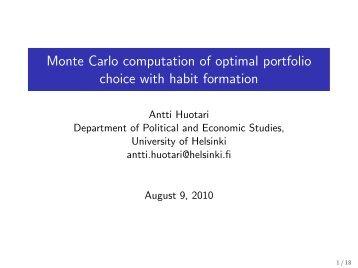 Monte Carlo computation of optimal portfolio choice with ... - Helsinki.fi