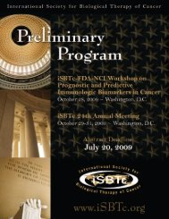 2010 iSBTc Annual Meeting - Society for Immunotherapy of Cancer